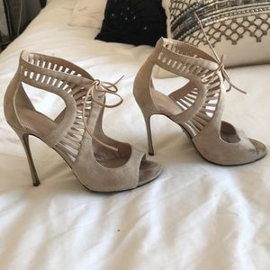 Sergio Rossi cream suede heels